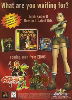 Advertisement for Tomb Raider II and other Eidos games for the PlayStation from the April 1999 issue of The Official U. - Playstation - Ideas of Playstation Tomb Raider Ii, Tomb Raider Lara Croft, Ever After High Games, Game Tester Jobs, Video Game Magazines, Computer Video Games, Mileena, Indie Games, Videogames