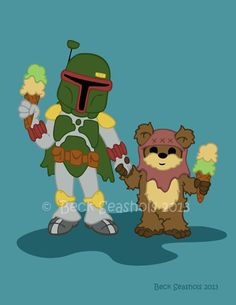 Boba Fett and Wicket Cartoon Star Wars Art Print by Beckadoodles, $5.00