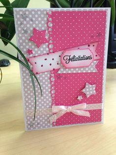 Bonjour tout le monde ! Une petite carte réalisée à l'occasion de la naissance de la fille d'un collègue ! Carte Scrap naissance Fille