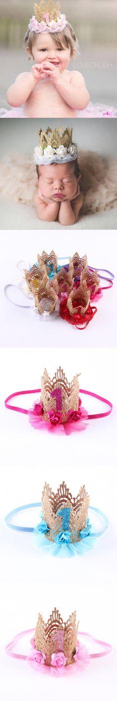 Retail Birthday Lace gauze Crown Headband Mini Paper Baby Headband Photography Prop Baby Girl Hair Accessory