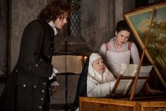 """Official 203 """"Useful Occupations and Deceptions"""", Claire (Caitriona Balfe), Jamie (Sam Heughan), Mother Hildegard"""