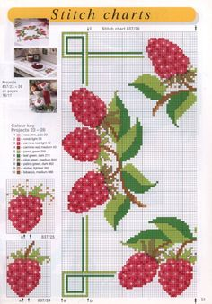 Cross Stitch Fruit, Cross Stitch Kitchen, Cross Stitch Heart, Cross Stitch Cards, Beaded Cross Stitch, Cross Stitch Flowers, Counted Cross Stitch Patterns, Cross Stitch Designs, Cross Stitching