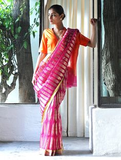 Anar Jhadi PINK Silk Zari Handwoven Saree by Raw Mango