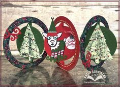 VIDEO TUTORIAL: Karen Burniston using the Pop it Ups Ring Accordion, Christmas Trees Pop Stand, William the Goat, Agatha Edges and Damask Embossing Folder by Karen Burniston for Elizabeth Craft Designs.