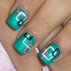 Colorful squares #nailart - this is about the only way I would voluntarily rock a bit of an 80s vibe.