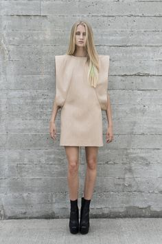 Minimalist dress with strong geometric lines & sculptural silhouette; 3D fashion // Titania Inglis SS13