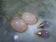 Vergoldete Ohrringe - Ohrringe Rosequarz Amethyst Chandelier Gold Lila - ein Designerstück von TOMKJustbe bei DaWanda