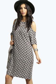 Leah Cold Shoulder Patterned Shift Dress alternative image