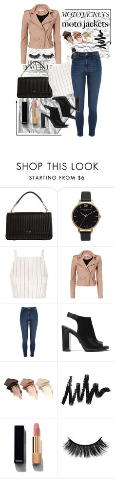 """""""Moto Jackets"""" by potatostyle04 ❤ liked on Polyvore featuring DKNY, Olivia Burton, Topshop, IRO, River Island, Michael Kors, Urban Decay and Chanel"""