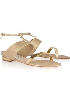 Oscar de la RentaRegina metallic suede and leather sandalsfront