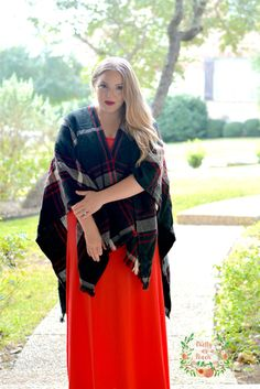 Red Maxi + Plaid Poncho | Christmas Outfit | Plus-Size Fashion | Ladylike & Modest | Pretty as a Peach Blog