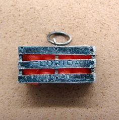 Vintage Sterling Silver Florida Oranges Crate Travel Bracelet Charm | eBay