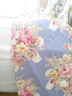 Vintage puritan print fabric with roses by Vintagewhitecottage