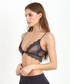 3541cd5095d48e Only Hearts So Fine with Lace Bralette Navy