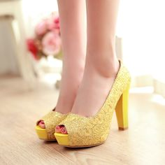 Big size 34-43 peep toe top quality fashion women pumps square heels sweet style platform white gold yellow party shoes for lady
