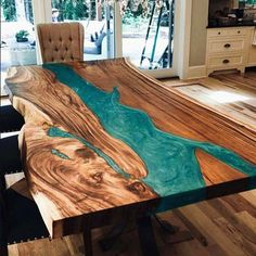 32 Awesome Resin Wood Table Design - For several reasons, resin furniture has become a popular alternative to wooden furniture created for outdoor use. It looks similar to painted wood, b. Epoxy Wood Table, Wooden Tables, Epoxy Table Top, Dining Tables, Coffee Tables, Side Tables, Diy Resin River Table, Wood Slab Table, Farm Tables