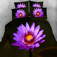 Free Shipping New HD digital 3d print Lotus flower bed set 4 Parts Per Set