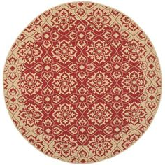 Charlton Home Lynn Red/Creme Outdoor Area Rug Rug Size: Round 7'10""