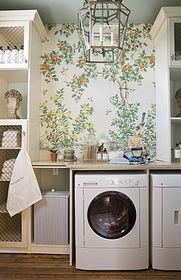 Wallpapered laundry | Aerin Lauder