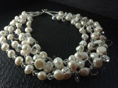 Multistrand White Baroque Pearls Rock Quartz Clear Crystal
