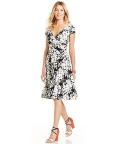 Maggy London Floral-Print Faux-Wrap Dress - Dresses - Women - Macy's