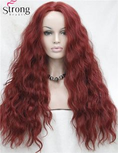Lace Front Long Wave Red Heat Ok Synthetic Wig #Affiliate