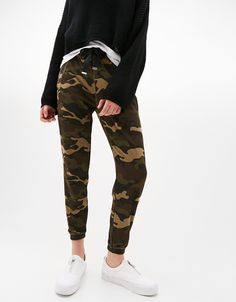 Camouflage plush joggers. Discover this and many more items in Bershka with new products every week