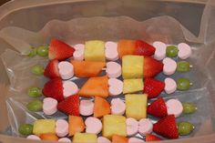 Valentine fruit kabobs.  Used heart shaped marsh mellows in between. My son's class loved them!