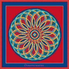 Mandala Indian Summer - digital crossstitch embroidery pattern pdf - 189 x 189 cross stitches - 34 x 34 cm or 13,5 x 13,5 inches - created by Droomcreaties Design & Foto Studio (www.droomcreaties.nl)