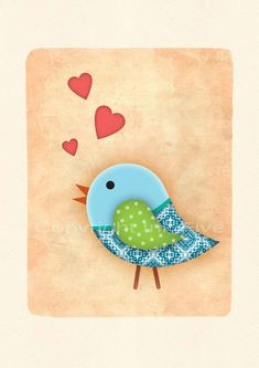 Nursery art print Bird in Love wall decor.