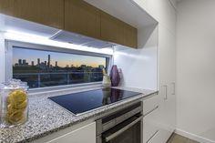 Kitchen area with view of the city - DoubleOne 3 Apartments by Devine | Teneriffe, QLD Australia #devine #apartment #property #investment #brisbane #australia