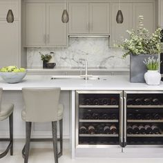 """Every kitchen should have the wine fridge! Courtesy of - Rustic chic kitchen from our Cobham project. Love these lights we…"" Kitchen Living, New Kitchen, Kitchen Ideas, Urban Kitchen, Kitchen Inspiration, Rustic Chic Kitchen, Kitchen Utilities, Ikea, Cuisines Design"