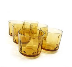 Vintage amber juice glasses honey gold drinking by reconstitutions