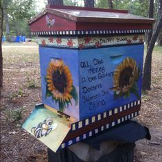 Our bee hive I painted! LorraineDavisMartin.com