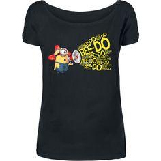 """Maglietta donna a maniche corte """"Bee Doo"""" dei #Minions con scollo a barchetta e ampia stampa frontale."""