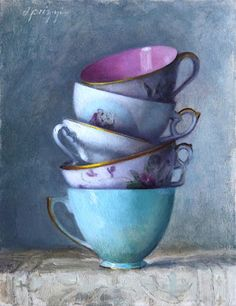 tea stack, donna prizzi Tea cups, still life, painting, oil, blue