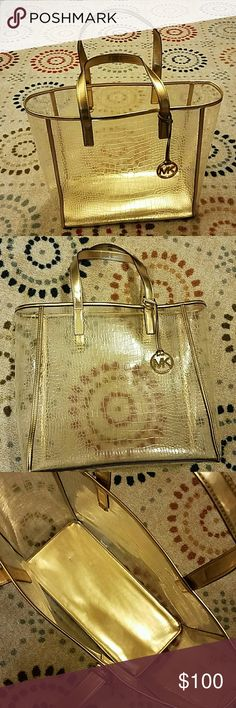 Michael Kors Clear Metallic Tote Super cute Michael Kors metallic tote bag. Large. Michael Kors Bags Totes
