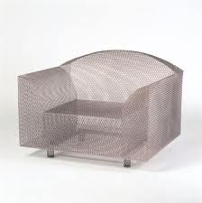 How High Is The Moon mesh chair Shiro Kuramata Design: 1986 Production: 1987 - 2009 Manufacturer: Vitra AG, Basel Size: 73 x 95 x seat height 36 cms Material: nickel-plated rib mesh Shiro, Accent Furniture, Outdoor Furniture, Outdoor Decor, Outdoor Rooms, Chair Design, Furniture Design, Organic Structure, Vitra Design Museum