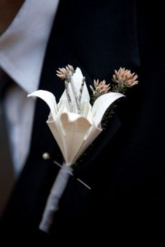 DIY Vintage Origami Lily Wedding Corsages & Bouttonierres