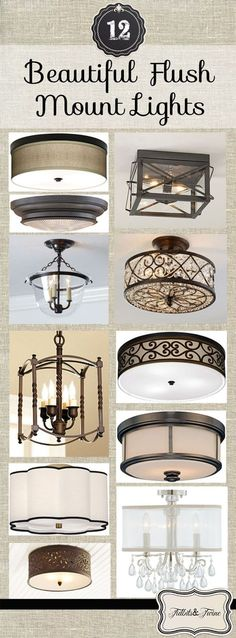Tidbits & Twine: A look at 12 moderately priced and beautiful flush mount light fixtures!  Links and photos included.