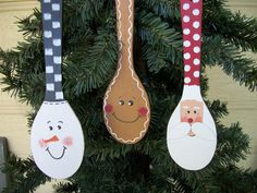Christmas Sale Was: $9.00 Now: $7.50    There are 3 Spoon ornaments offered in this listing. Thats 3 to give away , share 1 or 2,or keep them all for yourself.    The set comes with 1 Santa Spoon, 1Snowman Spoon, and 1 Gingerbread Man Spoon.Each has a red cord for hanging.    Measurements are: 1 3/4 x 6 long each    *** If you would like to have all of them the same figure or 2 of one and 1 of another,instead of each a different one,- just let me know.