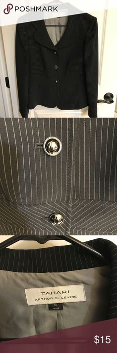 Black Pinstripe Tahari Arthur Levine Blazer Sz 10 EUC. No rips, stains, or even signs of wear. Sz 10 Tahari Arthur S Levine three button blazer. Blazer is lined and, as with all Tahari products, excellent quality. Item is tailored to fit perfectly with side and back darts. Color is  black with white pinstripe. Tahari Jackets & Coats Blazers