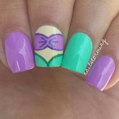 Easy Little Mermaid Nail art