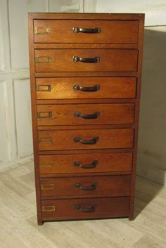 Art Deco 8 Drawer Oak Filing Cabinet