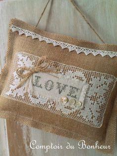 stitched with burlap & lace♥♥♥ Burlap Crafts, Fabric Crafts, Modern Cross Stitch, Cross Stitch Patterns, Inchies, Burlap Lace, Hessian, Cross Stitch Finishing, Lavender Sachets