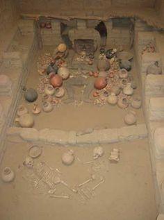 Reconstruction of the tomb of a priestess of the pre-Inca Moche people, found at San José de Moro, near Chepén.