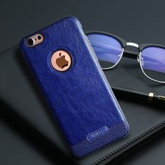 iPhone 7 case - Sapphire blue soft leather hybrid Case w/ free screen protector