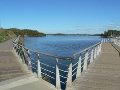 Bell Park Boardwalk on Ramsey Lake near Science North in Sudbury