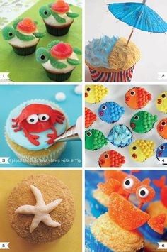 """1. Sea turtles decorated with gummy candies and mini chocolate chips for eyes 2. """"By the beach"""" sand is made from graham cracker crumbs 3. Frosting crab eyes are sixlets, and crab is easier to make than it looks (it only takes 2 frosting tips)! 4. Bite-sized fish cupcakes  miniature M's on miniature cupcakes 5. Marzipan starfish would be easy to make starfish with white frosting 6. Crab cupcake toppers – toothpicks are the secret behind these gummy crab toppers"""