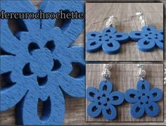 BOUCLES D OREILLE FLEUR BLEUE  - boucle d oreille percée - mercurochrochette - Fait Maison
